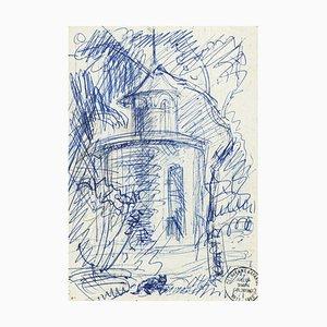 Simon Goldberg, Landscape, Pen Drawing, Fin 20ème Siècle