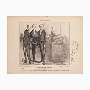 Lithographie Honoré Daumier, The Boys In Black, 1850s