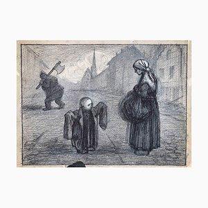 Gabriele Galantara, The Beggar and the Child, China Ink, 1915