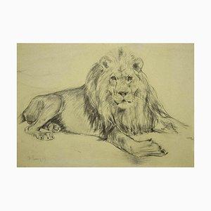 Stampa di un disegno di Wilhelm Lorenz, leone, anni '40