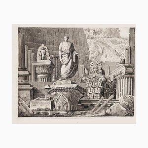 Luigi Rossini, Roman Ruins, Etching on Paper, 1826