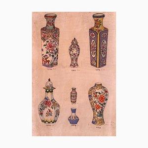 Jarrones de porcelana desconocidos, tinta china y acuarela, década de 1890