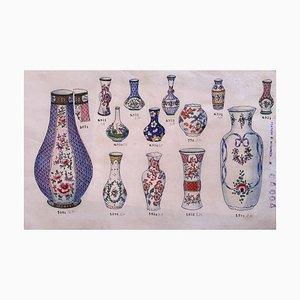 Inconnu, Vases en Porcelaine, Encre de Chine et Aquarelle, 1890s