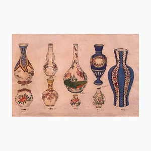 Unknown, Porcelain Vases, China Ink and Watercolor, 1890s