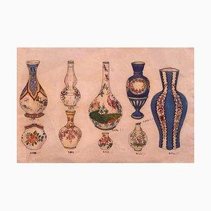 Unknown, Porzellanvasen, China Tinte and Watercolor, 1890er