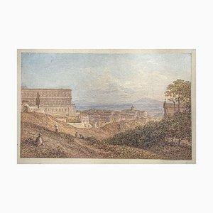 Unknown - View Naples - Original Aquarell auf Papier - 19. Jahrhundert