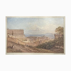 Unknown - View Naples - Original Watercolor on Paper - 19th Century