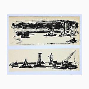 Herta Hausmann, Im Hafen, China Tinte, Mitte 20. Jahrhundert