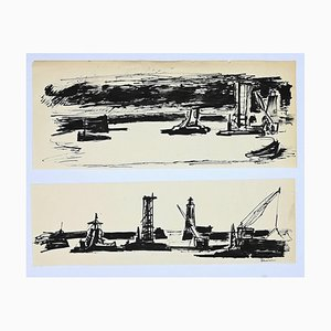 Herta Hausmann, In the Port, China Ink, Mid-20th Century