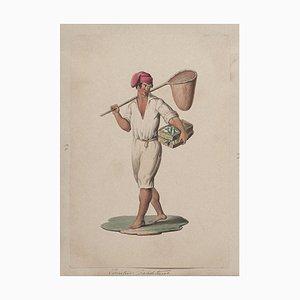 Michela De Vito, Neapolitan Fisherman, Gouache, 19th Century