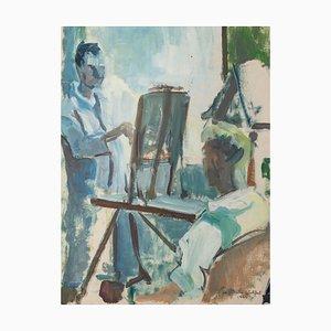 Max Wulfart, autorretrato, témpera y óleo sobre papel, 1944