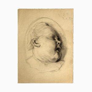 Elizabete De Noailles, Portrait, Bleistift auf Papier. Frühes 20. Jahrhundert