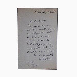 Lettre Autographe Signée Tristan Tzara, 1955