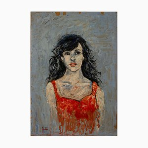 Unknown - Woman in Red - Original Ölgemälde - Spätes 20. Jahrhundert