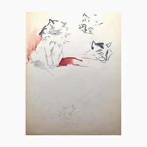 Marie Paulette Lagosse, Cats, Watercolor and Pen, 1948