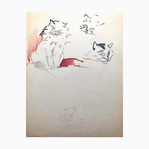Marie Paulette Lagosse, Chats, Aquarelle et Stylo, 1948