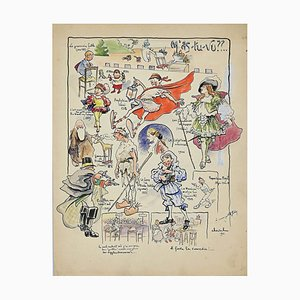 Unknown, The First Fairy Tale, Watercolor and China Ink Signed Cheval, 1911