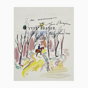 Yves Brayer, Knight In the Wood, Ink and Watercolor, 1968