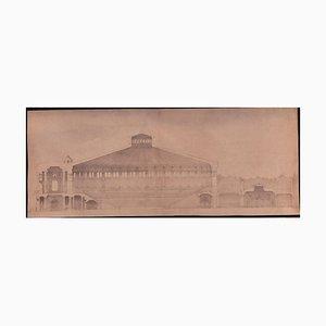 Unknown - Architectural Design Original Tinte und Aquarell auf Karton-Frühem 20. Jahrhundert