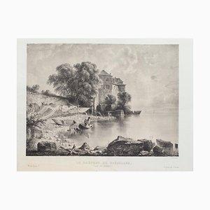 Antonio Fontanesi, Lac De La Geneve, Lithograph, Mid-19th Century
