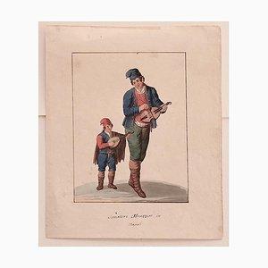 Michela De Vito, Musicians from Abruzzo, Watercolor, 19th Century