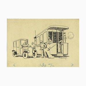 Henri-Paul Pecqueriaux, The Bus, Encre de Chine, Début 20ème Siècle