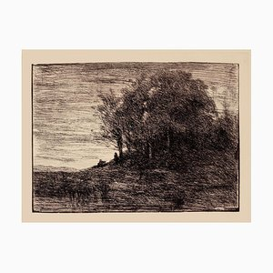 Jean-Baptiste-Camille Corot, Landscape, Etching on Paper, 19th Century