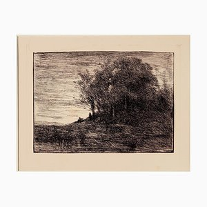 Jean-Baptiste Camille Corot, Landschaft, Radierung, 19. Jahrhundert