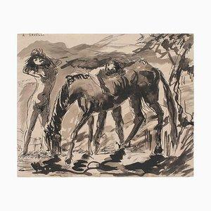 Angelo Savelli, Frau und Pferd, Tusche & Aquarell, 1960er