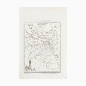 Unknown, Map of Seine, Etching, 19th Century