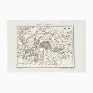 Unknown - Prezzo - Map Seine - Original Etching - 19th Century