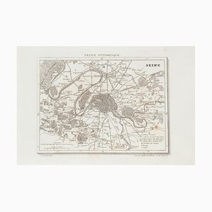 Unknown - Price - Map of Seine - Original Etching - 19th Century