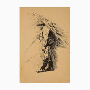 "Inconnu - Farmer - Dessin à l'Encre d'Origine signé ""Villetti"" - 1880"