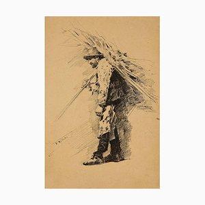 """Unbekannt - Bauer - Original Tinte Zeichnung signiert """"Villetti"""" - 1880"""