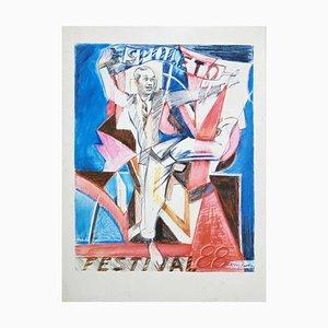 Larry Rivers, Spoleto Festival, Lithograph, 1988