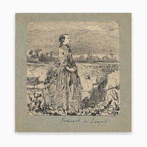 Ferdinand Lemud, Woman In Nature, Drawing, 19th Century