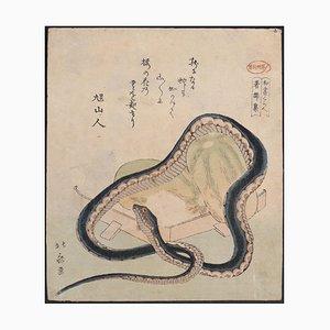 Katsushika Hokusai, Schlange & Töpfe, Holzschnitt, 19. Jahrhundert