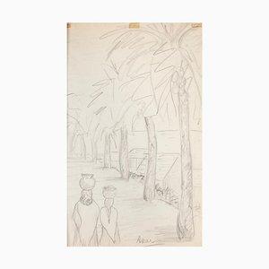 Inconnu - Paysage - Dessin Original au Crayon sur Papier - Début 20ème Siècle