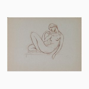 Paul Vera, Lying Nude Woman, Pencil Drawing, Early 20th Century
