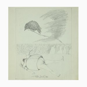 Leo Guida - The Guardian - Original Original Drawing on Paper - 1970