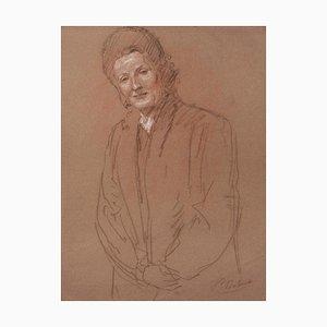 Inconnu - Portrait - Dessin au Dessin Original - Début 20ème Siècle