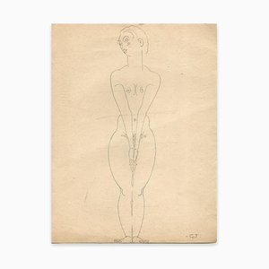 Georges-Henri Tribout, Naked Woman Standing, Drawing, Early 20th Century