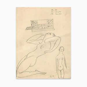 Georges-Henri Tribout, Zwei Nackte Frauen, Zeichnung, Frühes 20. Jahrhundert