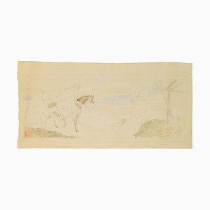 Georges-Henri Tribout, Marie and Joseph on Horseback, Drawing, Early 20th Century