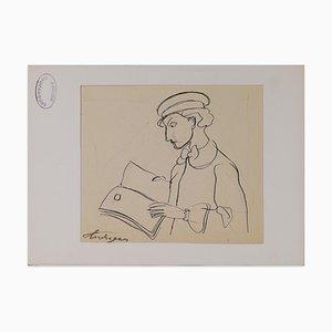 Louis Touchagues - Man Reading - Original Federzeichnung auf Papier - Mitte des 20. Jahrhunderts
