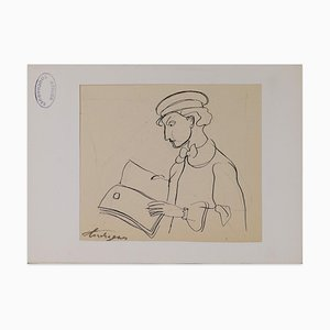 Louis Touchagues - Man Reading - Original Ink Drawing on Paper - Mid-20th Century