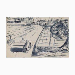 Louis Touchagues, Voiture Sur la Route, Encre et Aquarelle sur Papier, milieu 20ème Siècle