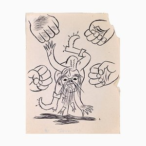 Louis Touchagues - Four Fists - Original Ink Drawing on Paper - Mid-20th Century