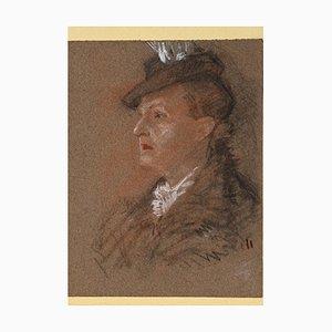 Inconnu - Portrait de Madame - Pastel Original sur Papier - 1930s