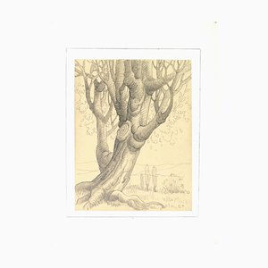 Georges-Henri Tribout, Tree, Pencil Drawing, Early 20th Century